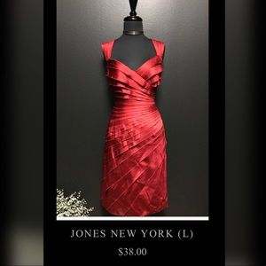 Jones New York Satin Red Dress - Lady In Red